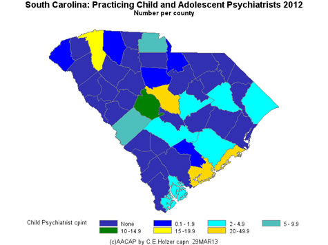 South Carolina - Practicing CAPs Per County 2009